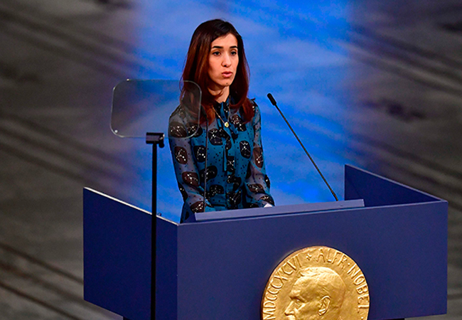 Nadia Murad during her speech at Nobel Peace prize