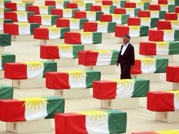 An Anfal survivor among the remains of who had been killed during Anfal genocide